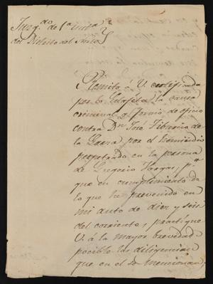 Primary view of object titled '[Letter from Marcelo Vela to Eugenio Garza in Laredo, January 30, 1841]'.