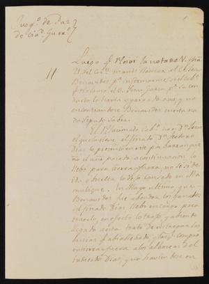 Primary view of [Letter from Miguel Benavides to the Laredo Justice of the Peace, November 24, 1837]