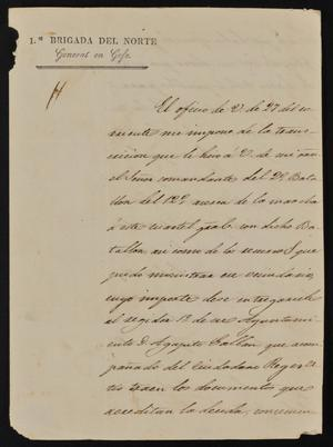 Primary view of [Letter from General Adrián Wall to the Laredo Alcalde, May 31, 1844]
