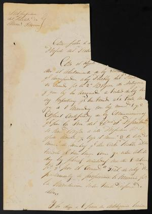 Primary view of [Letter from José Antonio Flores to the Laredo Justice of the Peace, April 18, 1838]