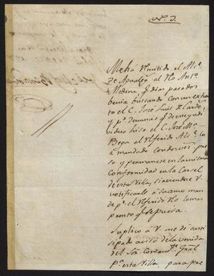 Primary view of object titled '[Letter from José Miguel Benavides to the Laredo Alcalde, February 26, 1827]'.