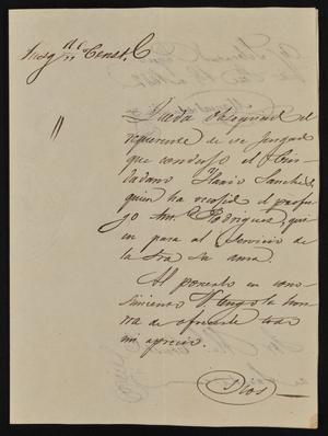 Primary view of object titled '[Letter from Manuel de la Viña to the Laredo Alcalde, September 1, 1842]'.