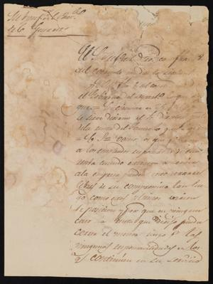 Primary view of [Letter from Policarzo Martinez to the Laredo Alcalde, January 21, 1842]