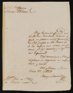 Primary view of object titled '[Letter from Policarzo Martínez to the Laredo Justice of the Peace, January 29, 1841]'.