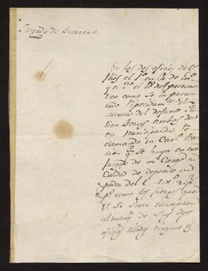 Primary view of [Letter from José Antonio Cervera to the Laredo Alcalde, March 24, 1831]