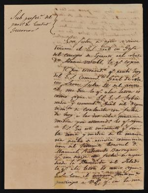Primary view of [Partially Torn Letter from Rafael Uribe to the Laredo Alcalde, February 17, 1843]