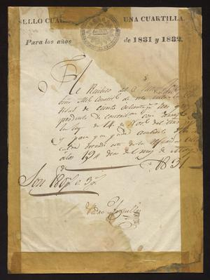 Primary view of [Receipt from Pedro Arguelles]