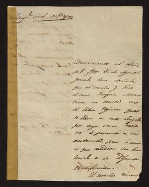 Primary view of [Letter from Ignacio Rodriguez to the Laredo Alcalde, September 25, 1831]