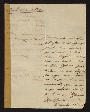 [Letter from Ignacio Rodriguez to the Laredo Alcalde, September 25, 1831]