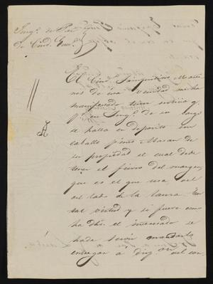 Primary view of object titled '[Letter from Antonio Cuellar to the Laredo Justice of the Peace, August 24, 1841]'.