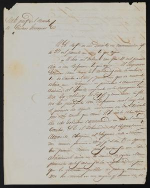 Primary view of object titled '[Letter from Policarzo Martinez to the Laredo Justice of the Peace, August 30, 1841]'.