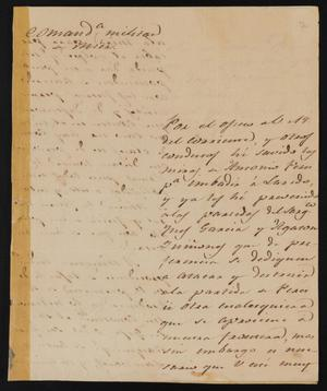 Primary view of object titled '[Letter from Manuel Lafuente to the Laredo Justice of the Peace, February 27, 1839]'.