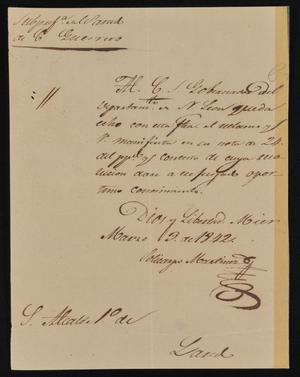 Primary view of [Letter from Policarzo Martinez to the Laredo Alcalde, March 3, 1842]