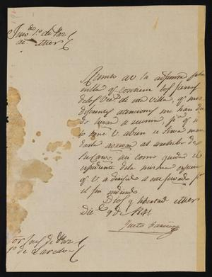 Primary view of [Letter from Justo García to the Laredo Justice of the Peace, December 9, 1841]