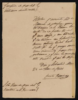 Primary view of object titled '[Letter from Justo García to the Justice of the Peace in Guerrero, September 29, 1841]'.