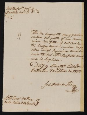 Letter from José Antonio Flores to the Laredo Alcalde, December 7, 1837