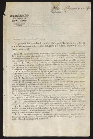 Primary view of [Printed Circular #43 from Governor Fernandez]