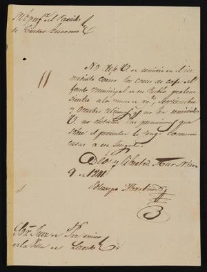 Primary view of object titled '[Letter from Policarzo Martinez to Justice of the Peace Ramón, November 9, 1841]'.