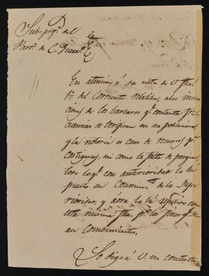 Primary view of object titled '[Letter from Indro García to the Laredo Alcalde, February 6, 1844]'.