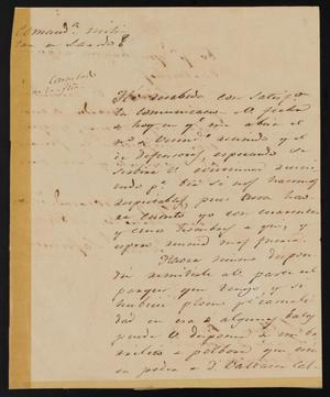 Primary view of object titled '[Letter from Manuel Lafuente to the Laredo Justice of the Peace, July 10, 1841]'.
