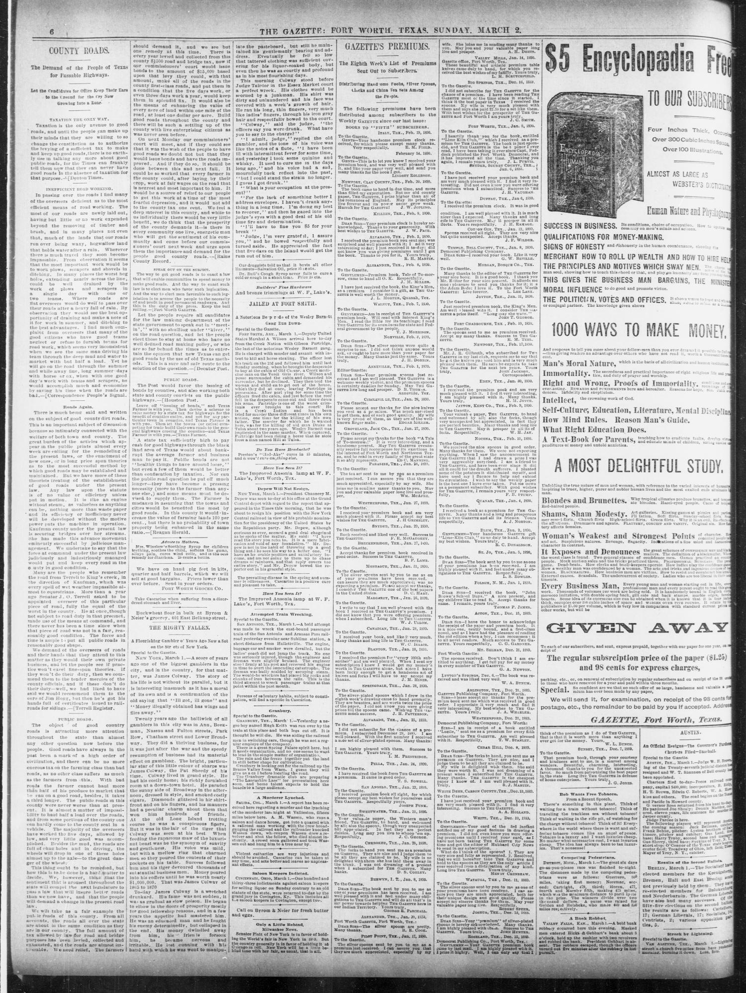 Fort Worth Daily Gazette. (Fort Worth, Tex.), Vol. 14, No. 141, Ed. 1, Sunday, March 2, 1890                                                                                                      [Sequence #]: 6 of 20