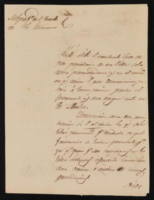 Primary view of object titled '[Letter from Policarzo Martinez to the Laredo Ayuntamiento, January 13, 1842]'.