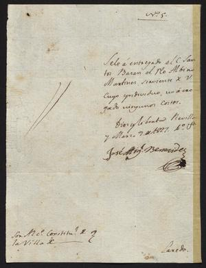 Primary view of [Letter from José Miguel Benavides to the Laredo Alcalde, March 5, 1827]