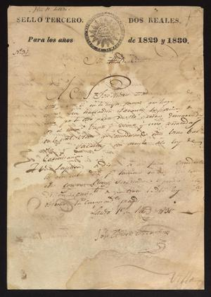 Primary view of object titled '[Letter from José Andres Martines to the Alcalde, February 1, 1830]'.