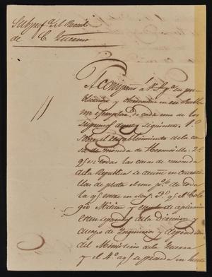 Letter from Policarzo Martinez to the Laredo Ayuntamiento, April 5, 1842