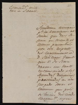 Primary view of [Letter from the Comandante Militar to the Laredo Alcalde, February 15, 1835]