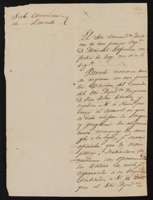 Primary view of [Letter from José Francisco de la Garza to the Laredo Alcalde, November 16, 1835]