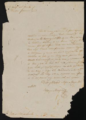 Primary view of object titled '[Letter from Policarzo Martinez to the Laredo Justice of the Peace, May 26, 1841]'.