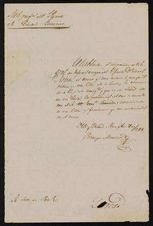 Primary view of object titled '[Letter from Policarzo Martinez to the Laredo Justice of the Peace, February 7, 1841]'.