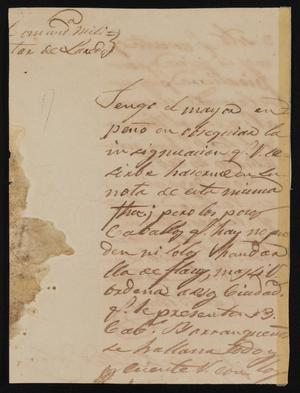 Primary view of object titled '[Letter from Comandante Bravo to Dolores García, December 15, 1841]'.