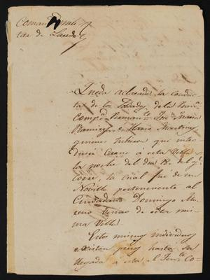Primary view of object titled '[Letter from José María González to the Laredo Justice of the Peace, March 28, 1841]'.