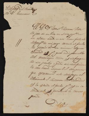 Primary view of object titled '[Letter from Policarzo Martinez to the Laredo Ayuntamiento, January 3, 1842]'.