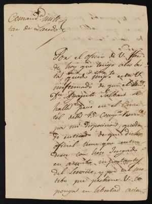 Primary view of object titled '[Letter from José María González to the Laredo Justice of the Peace, March 30, 1841]'.
