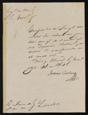 Primary view of object titled '[Letter from Antonio Cuellar to the Laredo Justice of the Peace, August 31, 1841]'.