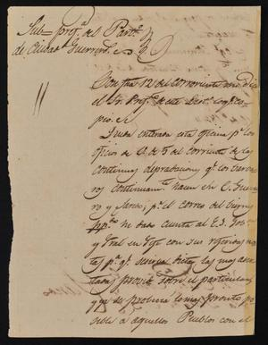 Primary view of object titled '[Letter from Indro García to the Laredo Alcalde, February 16, 1844]'.