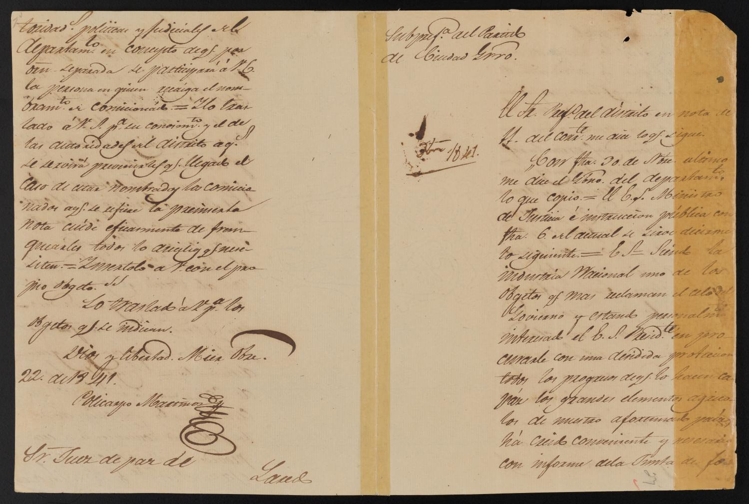 [Letter from Policarzo Martinez to the Laredo Justice of the Peace, October 22, 1841]                                                                                                      [Sequence #]: 1 of 2