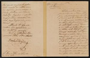 Primary view of object titled '[Letter from Rafael Vasquez to the Laredo Justice of the Peace, February 19, 1842]'.