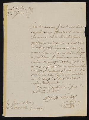 Primary view of object titled '[Letter from Miguel Benavides to the Laredo Justice of the Peace, October 26, 1837]'.