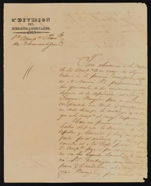 Primary view of [Letter from José María González to the Laredo Ayuntamiento, February 12, 1839]
