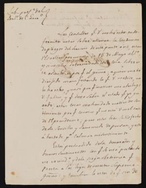 Primary view of object titled '[Letter from Miguel Benavides to the Laredo Justice of the Peace, July 20, 1840]'.