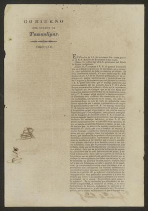 Primary view of [Printed Circular from the Governor of Tamaulipas]