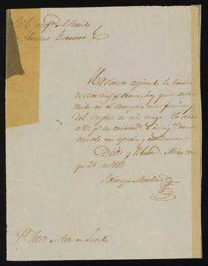 Primary view of object titled '[Letter from Policarzo Martinez to the Laredo Justice of the Peace, May 25, 1841]'.
