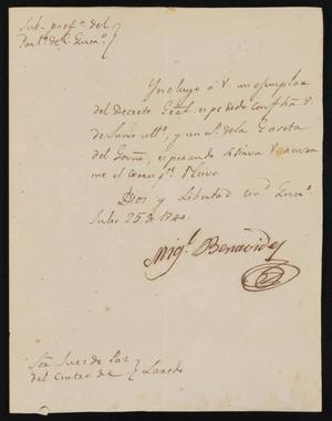 Primary view of object titled '[Letter from Letter from Miguel Benavides to the Laredo Justice of the Peace, July 25, 1840]'.