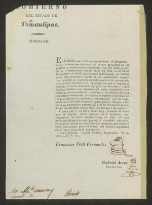 Primary view of [Circular from Governor Fernandez to the Laredo Alcalde, September 23, 1834]