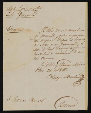 Primary view of object titled '[Circular from Policarzo Martinez to the Laredo Justice of the Peace, February 26, 1841]'.