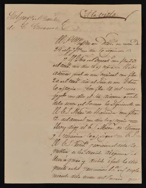 Primary view of object titled '[Letter from Policarzo Martinez to the Laredo Ayuntamiento, May 3, 1842]'.